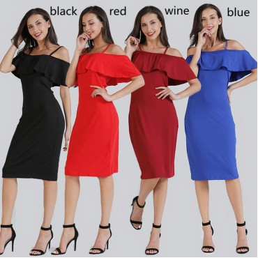 Women plus size boat neck tube top beach dresses office lady evening package hip one-step skirt s black