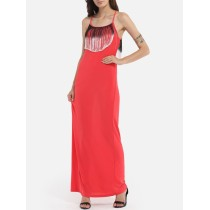 Women tube top beach dresses office lady evening shoulder strape tassels backless tie neck dresses s Red