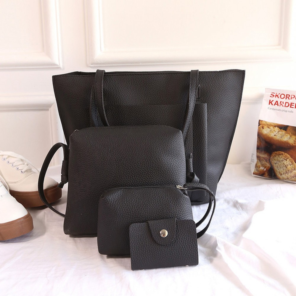 11fde42d62 20019 Explosion Promotion, Limited Buying, Four-piece Hand-held Slant Bag  black ordinary