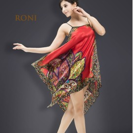 RONI Lady imitation silk pajamas women sexy home clothes girl national style home clothes red all code