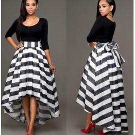 Women Long Striped Evening Formal Party Cocktail D..