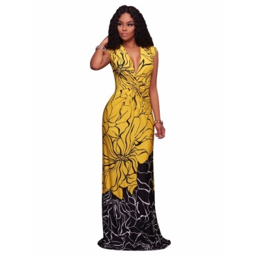 Floral print maxi long boho beach dress for women ladies sleeveless blossom dresses women's clothing picture color xl
