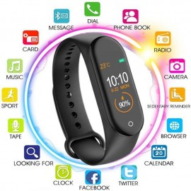 M4 Intelligence Bluetooth Wrist Smartwatch/Health Bracelet with Heart Rate Sensor Compatible All Androids iOS Phone/Tablet