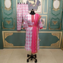 Lavender Suits ( Full Stitched) Kurthi Italian Silk