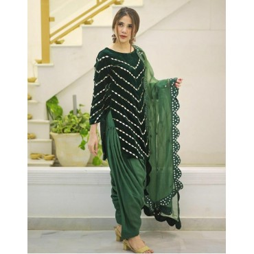 Patiyala Deisgner Wear Fancy Wear Velvet TOP with Heavy Dupatta.