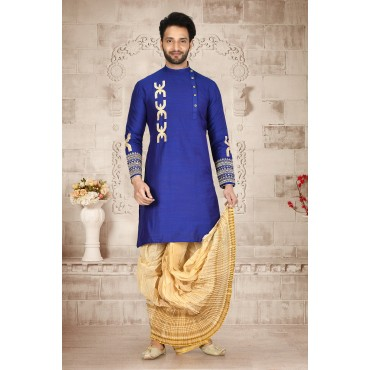 Shahensha Side Button Swastik Sherwani blue
