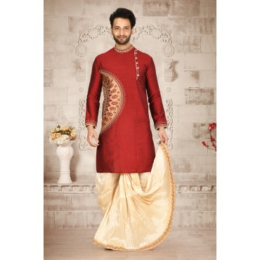 Shahensha Marron Side Button D Sherwani