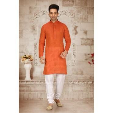 Shahensha Slim Fit Kurta Pyjama Orange