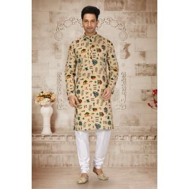 Shahensha printed Slim Fit Kurta Pyjama Mens