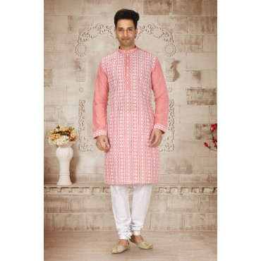 Shahensha Light pink Slim Fit Kurta Pyjama