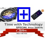 TIME WITH TECHNOLOGY: Men Stainless Steel Automatic Skeleton Mechanical Watches + Mobile Guava G500 Dual Sim black
