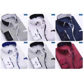 Men Fashion Casual Long Sleeved Printed shirt Slim..